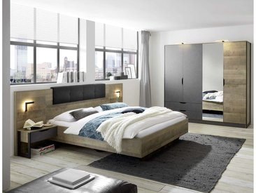 Stylefy Matheo I Ensembles de chambre a coucher Chene Montana Décor Gris 160x200 cm