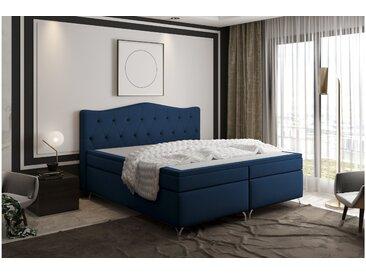 Stylefy Heaven Lit Boxspring Bleu Foncé 180x200 cm