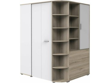 Stylefy Lio Armoire d'angle Chene San Remo Blanc