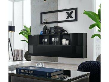 Stylefy Dafne SB V Armoire murale Noir Laqué Haute Brillance | Noir Mat