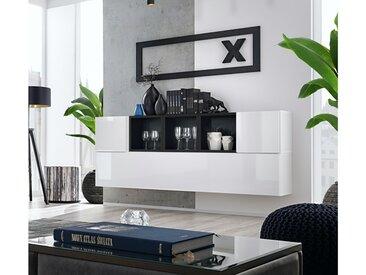 Stylefy Dafne SB V Armoire murale Blanc Laqué Haute Brillance | Noir Mat