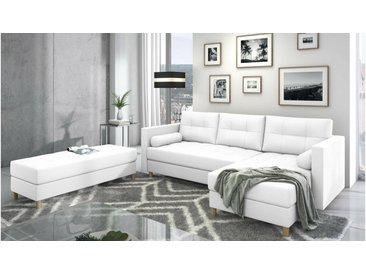 Stylefy Kaito Canape d'angle Blanc Cuir synthetique