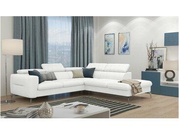 Stylefy Diogo Canapé d'angle Blanc Cuir synthétique