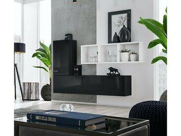 Stylefy Dafne SB VI Armoire murale Noir Laqué Haute Brillance | Blanc Mat