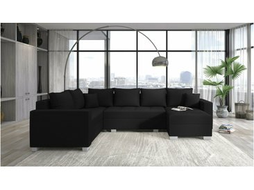 Stylefy Arno Canapé d'angle panoramique Noir Droite Matériau structurel INARI