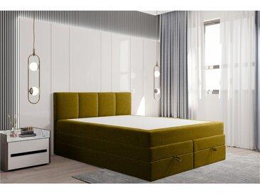 Stylefy Praga Lit boxspring 140x200 cm Jaune