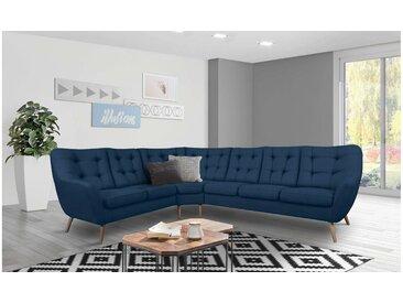Stylefy Genise I Canapé d'angle Velours Bleu