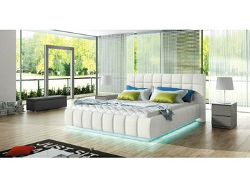 Stylefy Prato Lit rembourre Blanc 180x200 cm LED