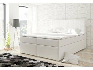 Stylefy Alicie Lit boxspring 126x160x200 cm Blanc
