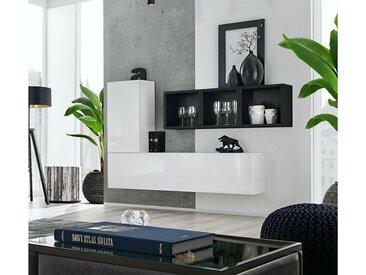 Stylefy Dafne SB VI Armoire murale Blanc Laqué Haute Brillance | Noir Mat