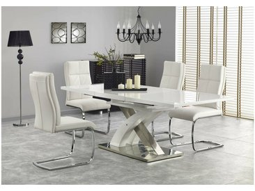Stylefy Sandor II Ensemble Table a Manger Blanc Chrome