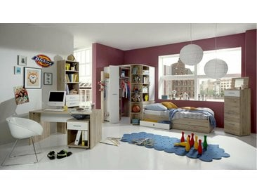 Stylefy Lio Ensemble de chambre d'enfant Chene San Remo Blanc 90x200 cm