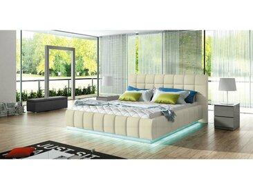 Stylefy Prato Lit rembourre Creme 180x200 cm LED