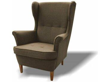 Stylefy Wood Sessel Strukturstoff 82x100x92 Braun I