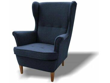 Stylefy Wood Sessel Strukturstoff 82x100x92 Blau