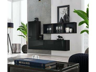Stylefy Dafne SB VI Armoire murale Noir Laqué Haute Brillance | Noir Mat