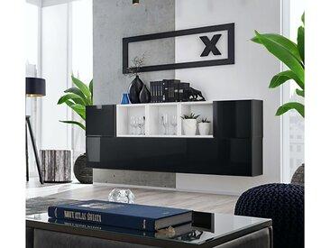 Stylefy Dafne SB V Armoire murale Noir Laqué Haute Brillance | Blanc Mat
