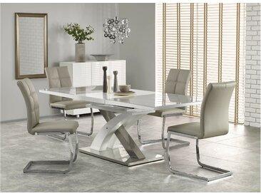Stylefy Sandor II Table de salle a manger extensible Gris Blanc