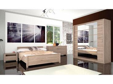 Chambre complète EBON chêne clair 160 x 200 cm