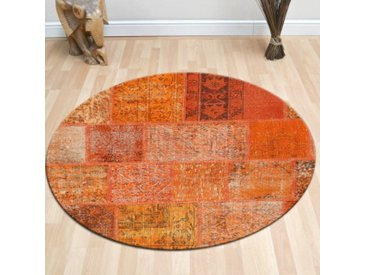 Tapis Patchwork Orange 120 x 120 cm