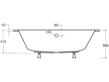 Baignoire d'angle DROITE INTIMA 150 ou 160 cm AVEC TABLIER - 160cm