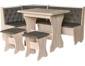 Coin repas MAXIMA coin + 2 tabourets + table 153.5 cm - Anthracite