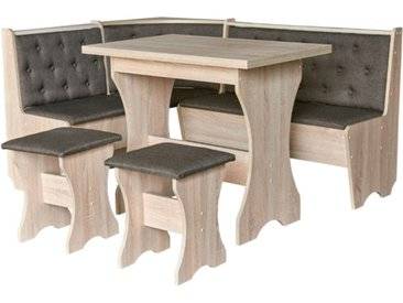 Coin repas MAXIMA coin + 2 tabourets + table 153.5 cm - Antracite