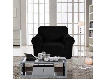 Housse de fauteuil extensible Prisca Noir ébène