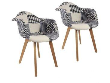 Lot de 2 fauteuils Patchwork Noir et blanc