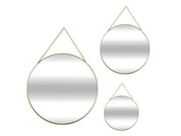Lot de 3 miroirs Ovalia Or