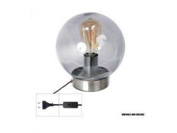 Lampe à poser Socle rond Argent