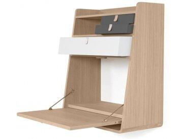 GASTON - secrétaire chêne tiroir blanc et ardoise - Materiaux - chêne naturel