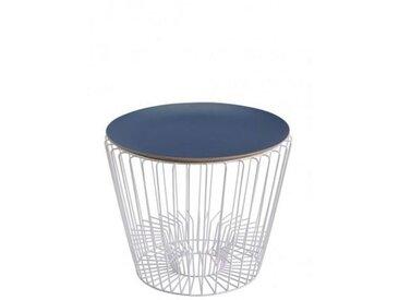 ERNEST - table d'appoint blanche ø49 cm - Couleurs - bleu pétrole