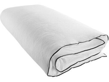 Housse de bout de lit Carlina blanc 90x200 cm, Lin 100% (Broderie) Polyester 100%, Linge de lit - MADURA