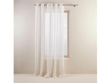 Voilage à oeillets Shadow blanc, 145x275 cm, Lin 100% - MADURA