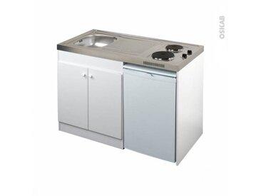 OSKAB Kitchenette électrique Meuble sous évier blanc Avec Réfrigérateur L120 x H93 x P60 cm