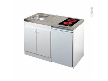 OSKAB Kitchenette vitrocéramique Meuble sous évier blanc Avec Réfrigérateur L120 x H93 x P60 cm