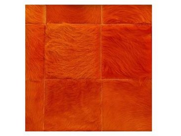 Q5 - Tapis peau patchwork - orange/peau de vache/100x200 cm