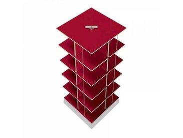 Moormann Musikstapler - Etagère pour CD H:87cm - rouge/FU contreplaqué de bouleau/piédestal: cément/pour env. 300 CDs/rotatif
