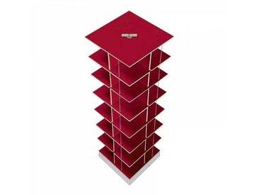 Moormann Musikstapler - Etagère pour CD H:118cm - rouge/FU contreplaqué de bouleau/piédestal: cément/pour env. 420 CDs/rotatif