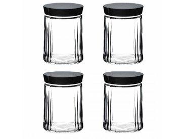 Rosendahl Design Grand Cru - Lot de bocaux en verre avec bouchon - transparent/couvercle noir/H 14,5cm / Ø 11cm/4 unités