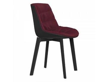 MDF Italia Flow Cross - Chaise rembourré - bordeaux/étoffe Londra R310 Col. 020/assise revêtement Soft-touch gris plomb/structure laqué gris plomb