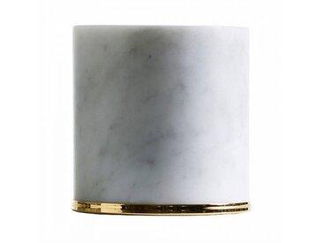 Opinion Ciatti Butoir de porte Fermaporte - blanc/marbre blanc de Carrara/H 10cm / Ø 10,5cm/bague en acier or 24K