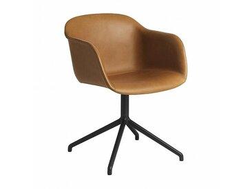 Muuto Fiber Chair - Chaise rembourrée, pivotant - cognac/siège cuir cognac rembourré/PxHxP 54,5x76,5x55cm/structure noire/mécanisme de retour