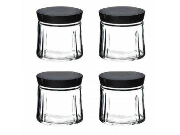 Rosendahl Design Grand Cru - Lot de bocaux en verre avec bouchon - transparent/couvercle noir/H 11cm / Ø 11cm/4 unités
