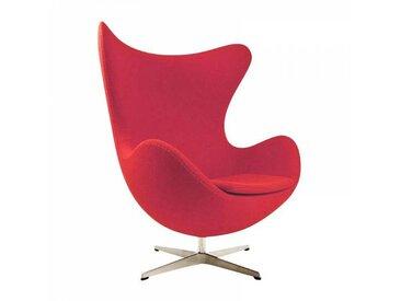 Fritz Hansen Fauteuil L'Oeuf/ Egg Chair™ étoffe - rouge/étoffe Divina 623/structure aluminium satiné/PxHxP 86x107x79-95cm