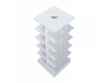Moormann Musikstapler - Etagère pour CD H:87cm - blanc/FU contreplaqué de bouleau/piédestal: cément/pour env. 300 CDs/rotatif