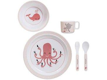 Bloomingville Ida - Vaisselle d'enfants set de 5 - Fin de série - rose/1 fourchette: 14cm/1 cuillère: 14cm/1 tasse à l'anse: H6cmxØ8cm/1 assiette plate Ø22cm/1 assiette creuse Ø14