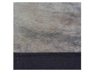 Q2 - Tapis peau de vache avec bordure cuir - marron/peau de vache/100x100cm