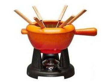 Le Creuset - Set de fondue au fromage - rouge feu/noir/Fondue Pot/2 manche fonte/Réchaud avec brûleur à pâte/6 fourchettes/capot de protection/32x22cm/Ø20cm